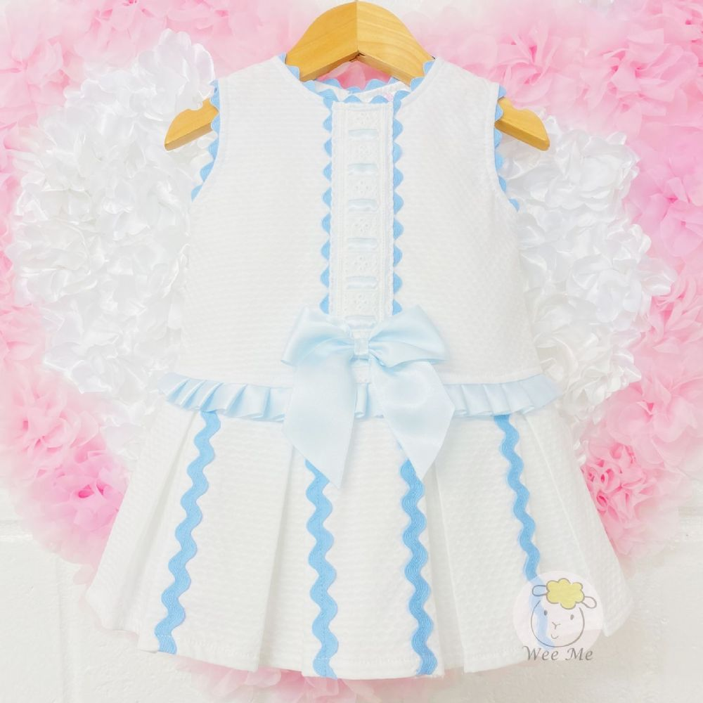 * Baby Girl Spanish White Blue Drop Waist Dress &Ribbon Detail